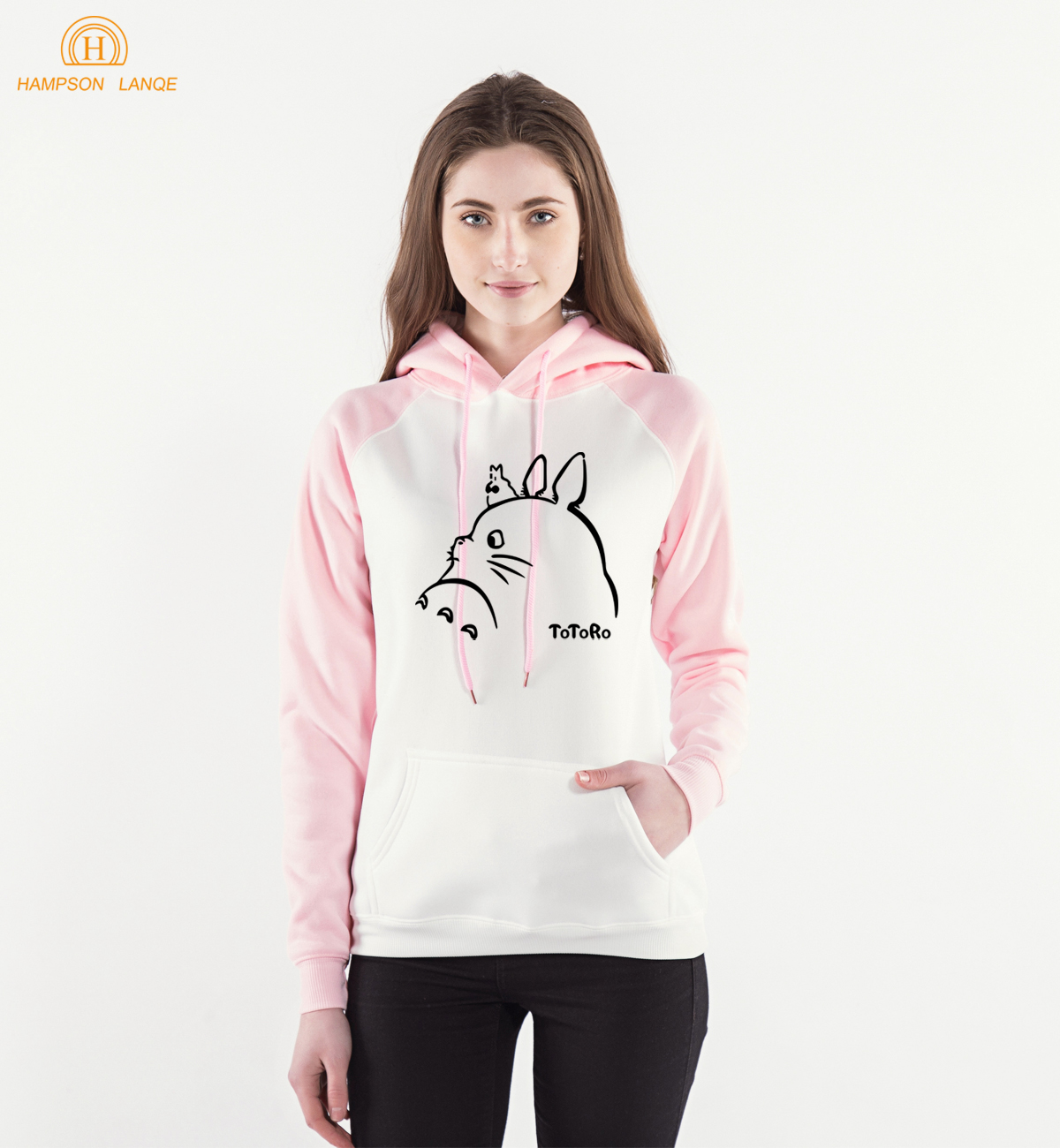 Japan Anime Kawaii Totoro Pink Women Hoodies 2018 Spring Winter Harajuku Sweatshirts Womens Raglan Hooded Warm Fleece Hoody