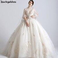 Новый Дизайн Роскошные свадебные платья 2017 принцесса Corest бальное платье 3D цветы Африканский Свадебные платья Реальные фотографии Vestidos De