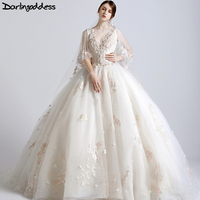 New Design Luxury Wedding Dresses 2017 Princesss Corest Ball Gown 3D Flowers African Wedding Gowns Real