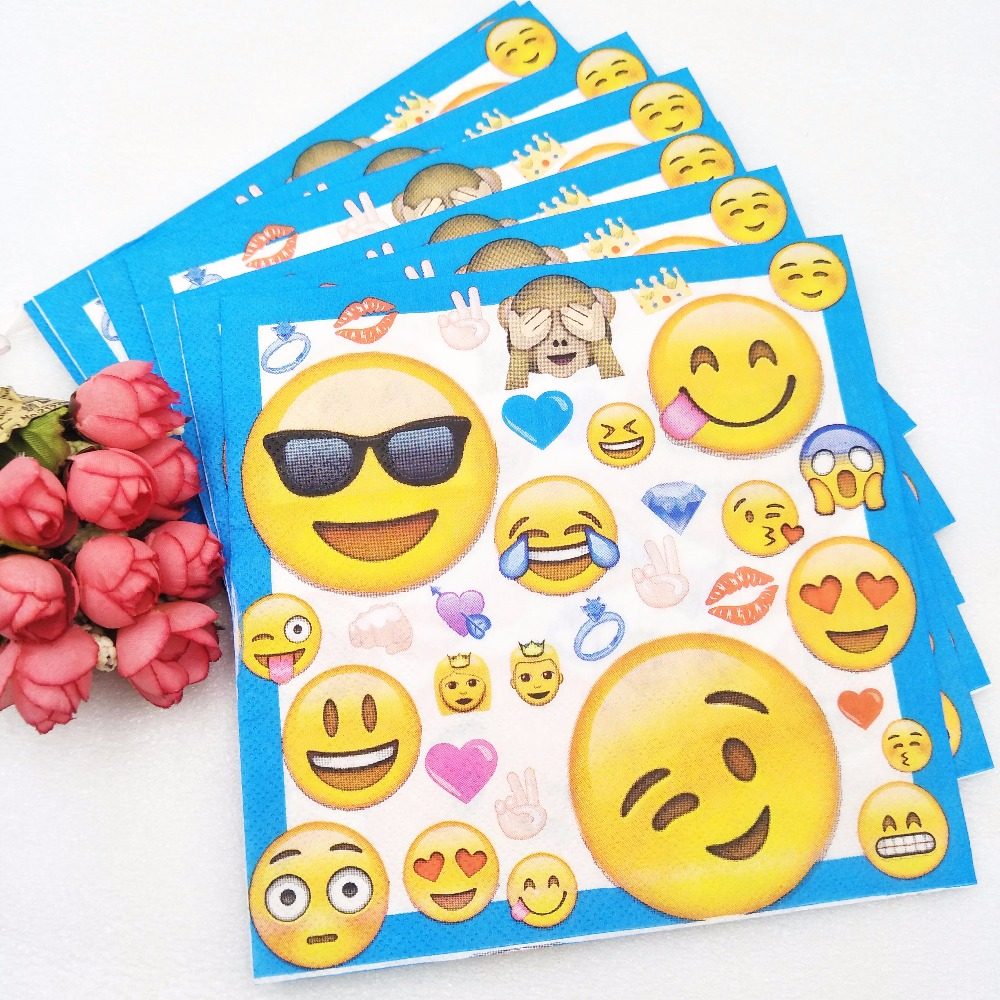10pcs/bag emoji face paper napkins baby shower party supplies emoji face expression paper tissues kids birthday party decor