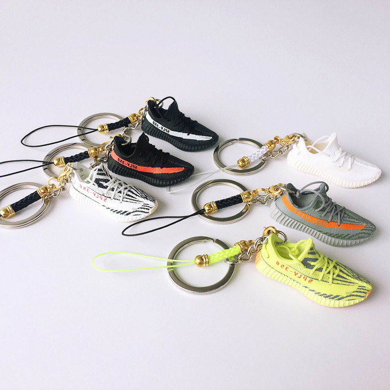 3D Mini Boost 350 Sneaker Keychains Mobile Phone Strap Lanyard for iPhone Shoes Model Keychains Sneaker Model Popular Gift(China)