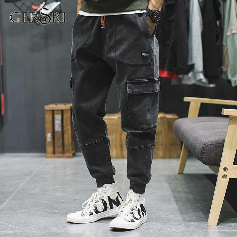 Gersri мужские однотонные повседневные потертые джинсы на молнии мужские джинсы черные Высокое качество модные мульти-карманы брюки мужские брендовые Молодежные Студенческие