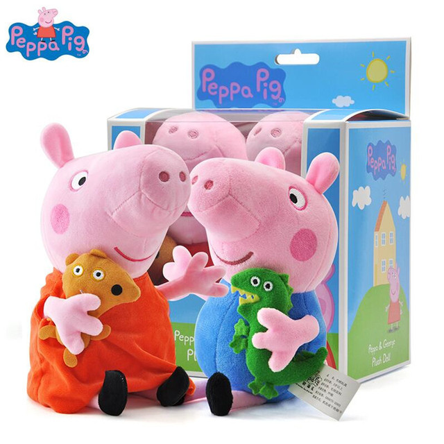 a108346d3d8 2pcs set Peppa George Pig With Gift Boxes 19 30cm Stuffed Plush Toys  Christmas New Year 2018 Best Gifts For Kids Girls Original