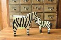 Een lot/2 stuks creative houten schilderij zebra model handwerk ornament woondecoratie speelgoed gift a1607