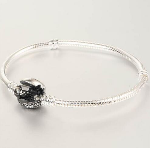 Bracelets en argent sterling 925 Bracelet serpent européen avec fermoir coeur en zircon cubique pour femmes et hommes bijoux bricolage YL018 - 2