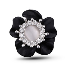 High quality Opal Elegant Fashion Handmade matte black Flower Rings for Women Gift J02331