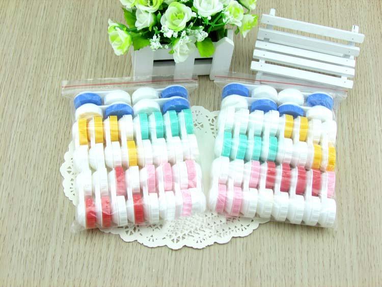 LIUSVENTINA Portable Wholesale Solid Simple Contact Lens Case for Color Lenses Gift for Girls 100pcs/lot Random Mix Color