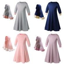 สองชุดดอกไม้แบบดั้งเดิมเสื้อผ้าเด็กแฟชั่นเด็ก Abaya มุสลิมผู้หญิงชุด Jilbab และ Abaya เด็กอิสลาม Hijab Dresses