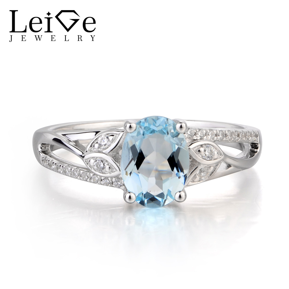Leige Jewelry Promise Ring Natural Aquamarine Ring March Birthstone Oval Cut Blue Gemstone 925 Sterling Silver Gifts for Women