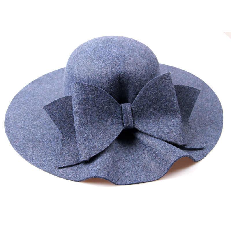 53f3503f653 ... 2018 New Australia Wool Felt Hat England Women Fedora Hat Wide Brim Hats  With Big Bowknot ...