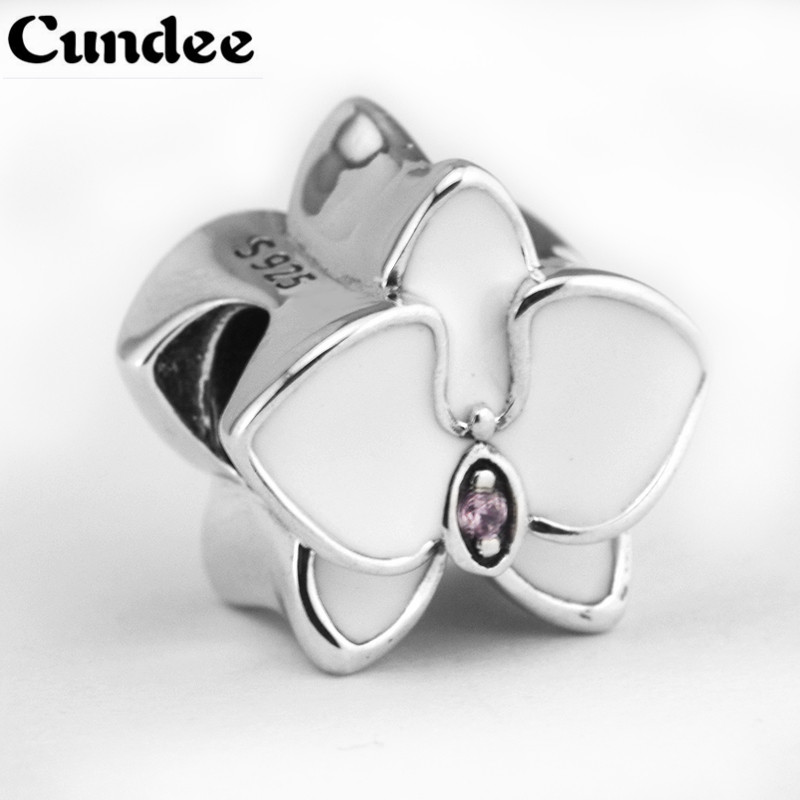 Fits pandora Charms Bracelets Summer White Enamel Orchid Beads 925 Sterling Silver Flowers Charms For Women Jewelry Accessories