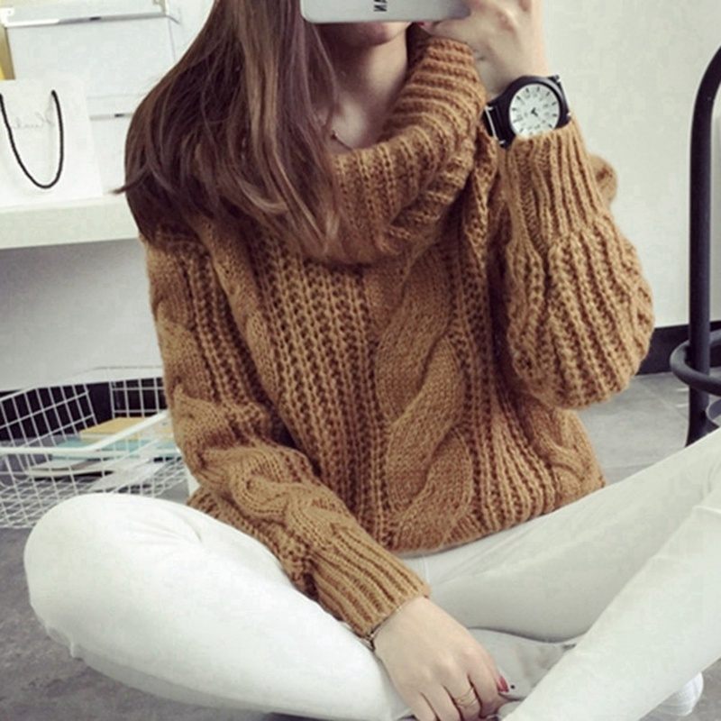 Pullovers 2018 The Female Head Of Korean Winter Sweater Loose Embroidered Sweater lantern Sleeve Sweater Thick Ideal Gift For All Occasions