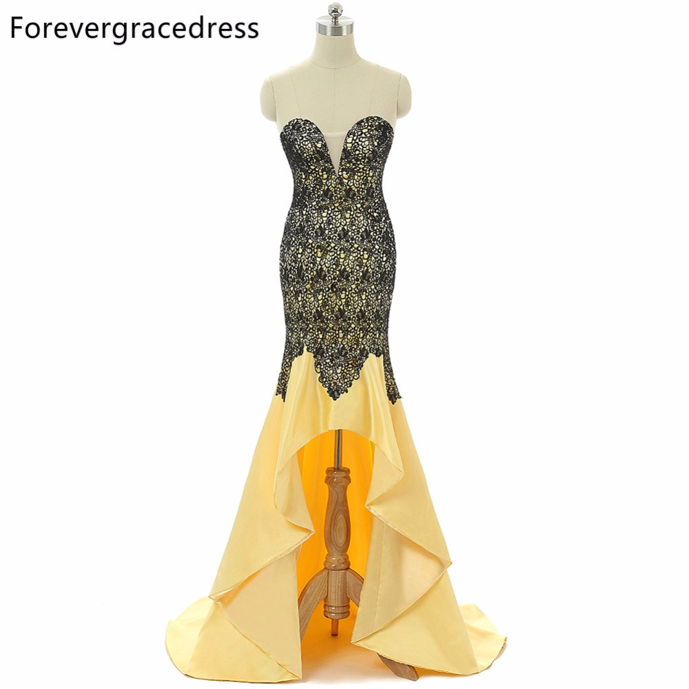 Forevergracedress Real Photo 100%   Prom     Dress   Luxury 2018 Sweetheart Sleeveless High Low Lace Formal Party Gown Plus Size