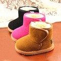 New Classic 3 Colores Niños Niñas Botas de Invierno Para Mantener Caliente Espesar Algodón Antideslizante Suela De Cuero Zapatos de Bebé Botas de Nieve Del Tobillo