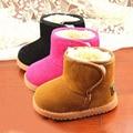 New Classic 3 Cores Meninos Meninas Botas Para Manter Quente de Inverno Sapatos De Sola de Couro Antiderrapante Engrossar Algodão Do Bebê Botas de Neve do Tornozelo