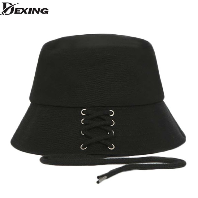 2018 BTS SUGA Fashion KPOP Iron Ring shoelace Bucket Hats popular style cap  100% handmade Long belt panama hip hop hat c4726e4cc84d