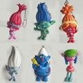 6 Trolls pçs/set Filme 7-8 cm de Altura Figuras de Ação Boneca Pingente de chave fivela Papoula Ramo Biggie Figuras Boneca crianças Brinquedos de Presente