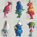 6pcs/set Movie Trolls 7-8cm Height Action Figures Doll Pendant key buckle Poppy Branch Biggie Figures Doll Kids Toys Gift