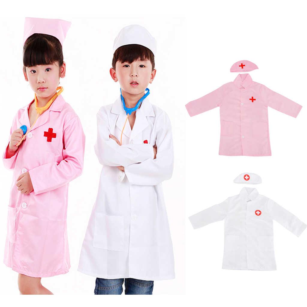 Unisex Kids Jongens Meisjes Arts Chirurg Halloween Cosplay Dress Up Jas Met Cap Verpleegkundige Play Gereedschap Set Outfits