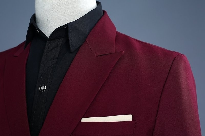 Image 4 - PYJTRL Brand Wine Red Groom Tuxedo Wedding Singer Suits Double  Breasted Slim Fit Suit Prom Dresses Fashion Casual Suit MenSuits   -