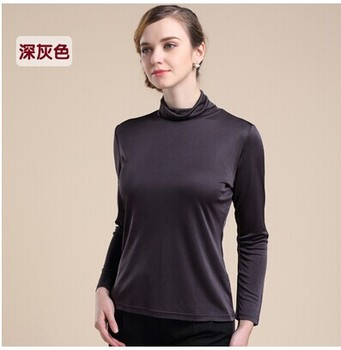 Qiu dong joker with silk top 100% mulberry silk thickening heavy silk knitted turtleneck long sleeve T-shirt фото