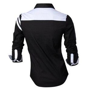 Image 2 - Мужская джинсовая рубашка, повседневная приталенная рубашка с длинным рукавом, весна осень, Z006