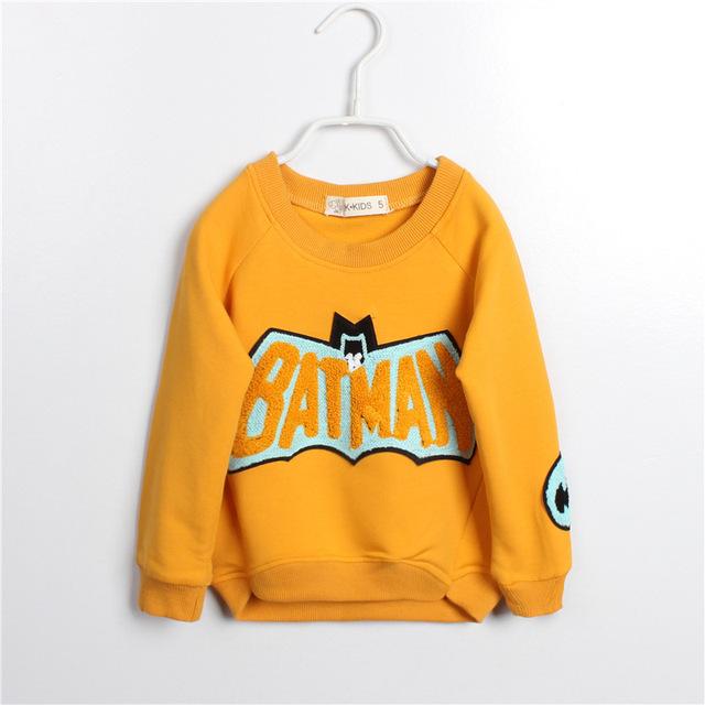 Ropa para niños 2015 primavera otoño Boys & Girls sudaderas con capucha de la historieta de Batman algodón del o-cuello mangas largas paño de los niños