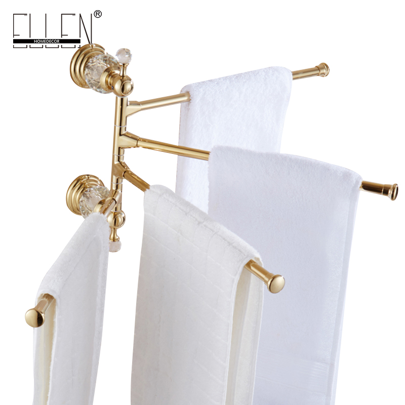 Luxury Crystal Brass Movable Towel Holder Bath Towel Rack Bathroom Accessories Bath Hardware