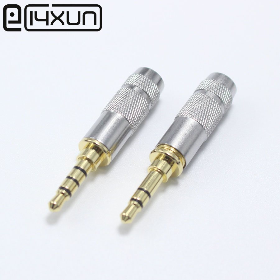 EClyxun 1Pcs New Copper Mini 3.5 Mm 3/4 Pole With Clip Plug Audio Jack Earphone Adapter For DIY Stereo Headset Earphone