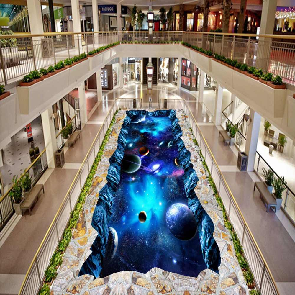 Custom Floor Wallpaper Universe Star 3D Stereo PVC Floor Sticker Painting The Mall Wear Non-slip Waterproof 3D Mural Wallpaper
