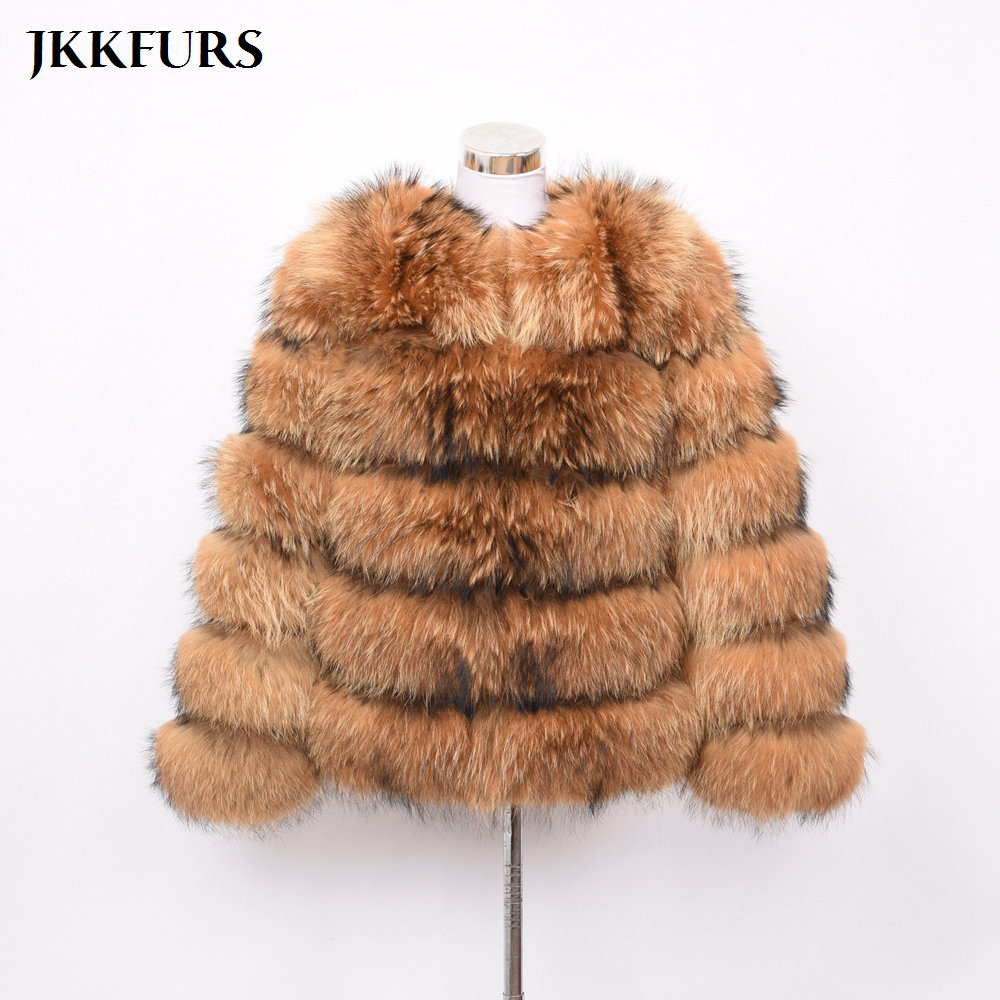 5 Rows Real Raccoon Fur Coat Fashion Style Thick Warm Genuine Fur Overcoat Natural Fur Lady