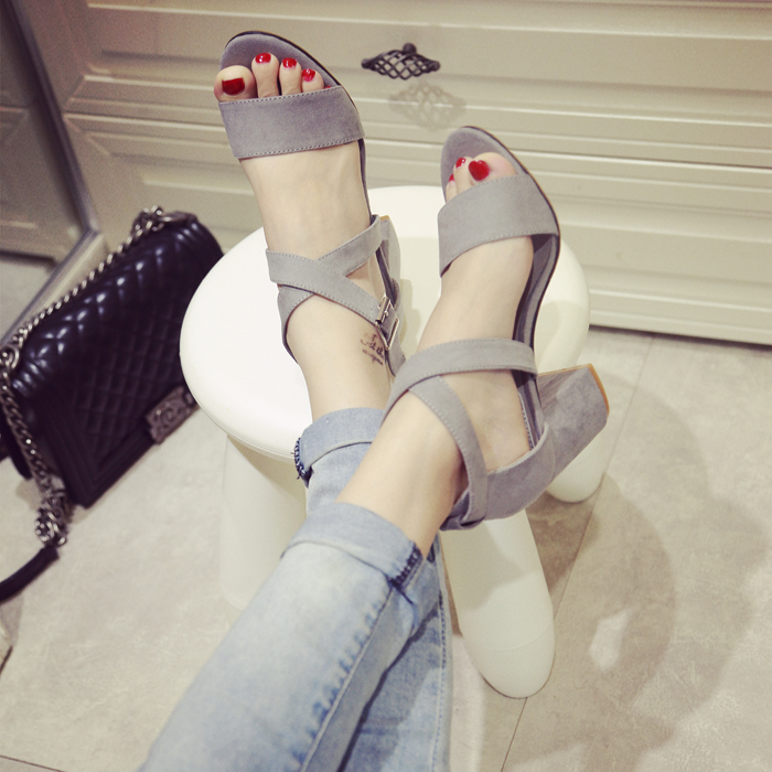 d7b8c1b167c 8cm High Heels 2016 Women Block Heel Chunky Sandals Woman Summer Shoes Open  Toe Pumps Sandalias Zapatos Mujer Chaussure Femme-in Women s Sandals from  Shoes ...