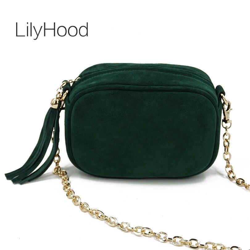 LilyHood Fashion Genuine Leather Shoulder Bag Summer Feminine Green Fringe Tassel Mini Peekaboo Crossbody Bag With