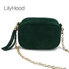 LilyHood Fashion Echtes Leder Umhängetasche Sommer Feminine Grün Fringe Quaste Mini Peekaboo Crossbody Tasche Mit Goldkette