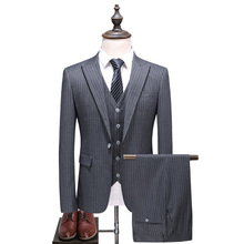 (Jacket+Pants+Vest)2018 New 3 Pieces Male Suits with pants Blazers Prom Grey Wedding for men Slim fit Plus Size S-5XL