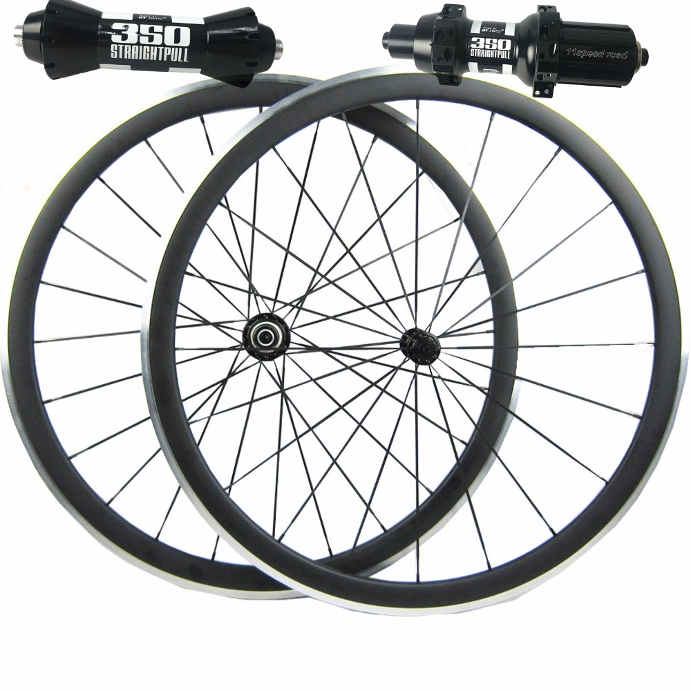 free shipping 38mm carbon alloy brake clincher bike wheels road bicycle wheelset 350s Hub black spokes black nipples 23mm 700C