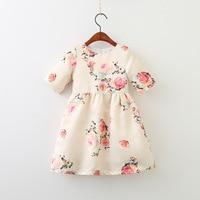 Everweekend Kids Girls Beige Pink Color Sweet Summer Princess Dress Print Flowers Korean Fashion Children Dress