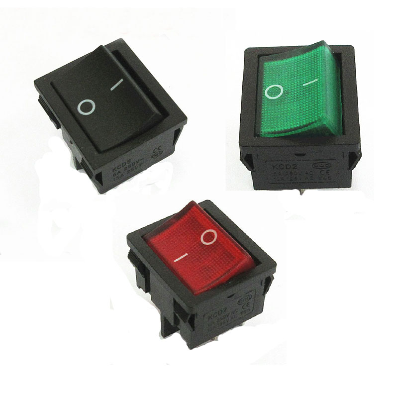 5pcs KCD5 Drinking Fountain Rocker Switch 4 6 Pin 2 3 Level <font><b>6A</b></font> <font><b>250V</b></font> OFF-ON Multiple Colour Multifunctional Electric Accessories image