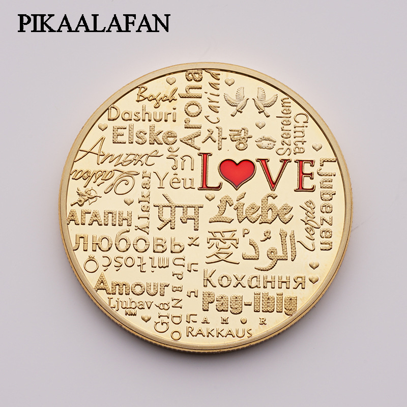 US $2 64 12% OFF|2018 Custom commemorative coins Love coin mood love gold  and silver coins Foreign currency coins Metal badge medallion Gift-in Game