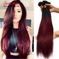 Ombre Brazilian Straight Hair 3 Pcs Unprocessed Virgin Hair Weaves Brazilian Red Hair Extensions T1b/99J Tissage Bresilienne