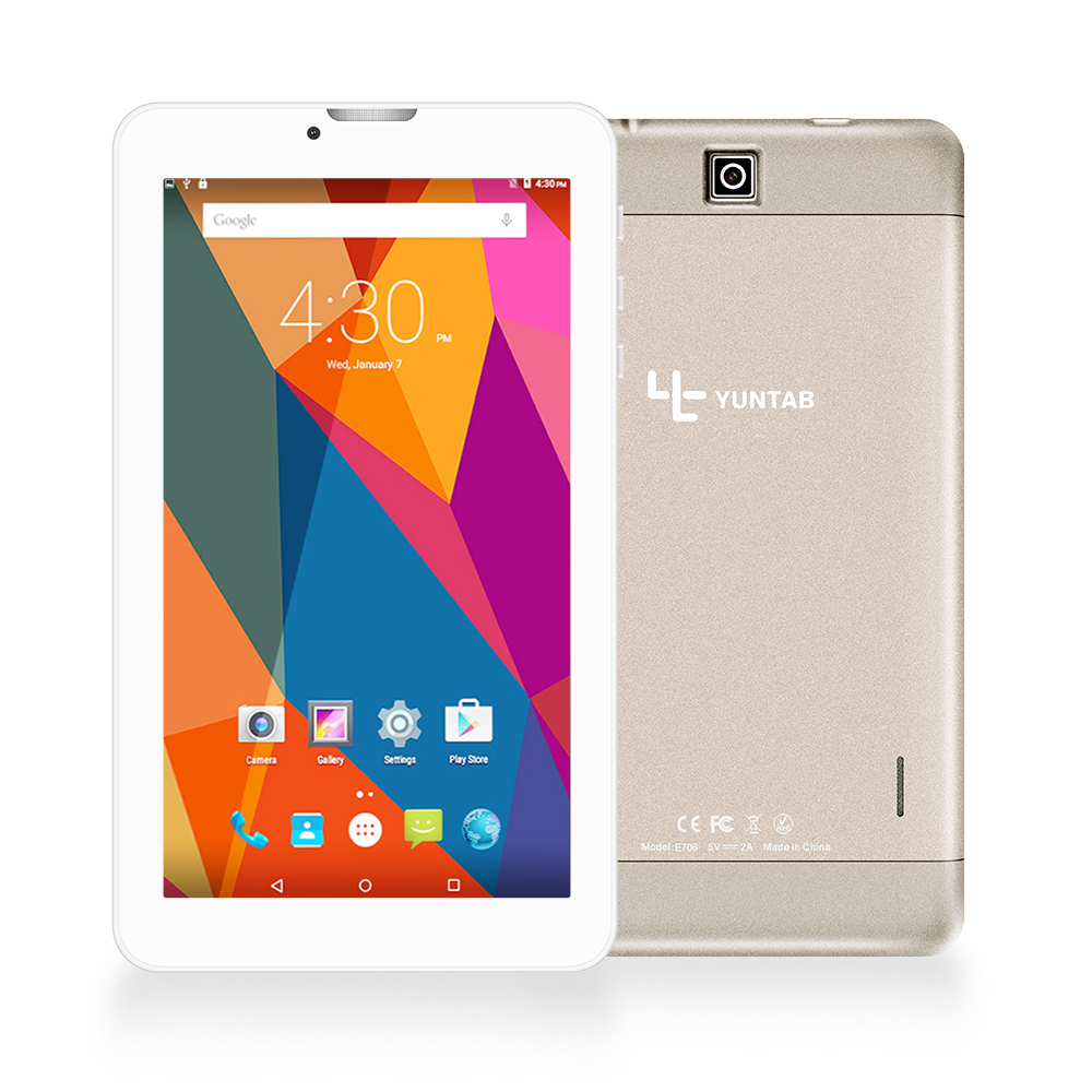 YUNTAB 7-tommers E706 legering Tablet PC Quad Core berøringsskjerm 1024x600 Google Android 5.1 Dual Camera Support Sim Card (gullfarge)