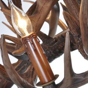 Image 5 - Marrom Branco Resina Antler Chandelier Iluminação Do Vintage 4/6/9 Braços E14 Luminárias Lustres de Luxo Para Casa