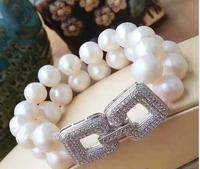 10 11mm AA white freshwater round pearls bracelet cz micro pave clasp >jewerly free shipping