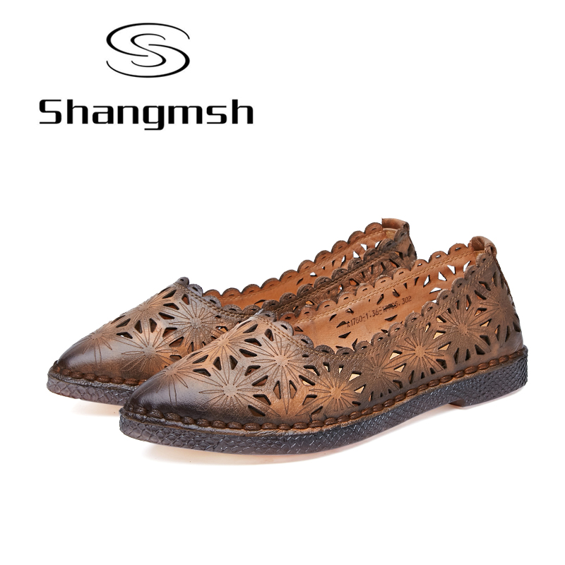 Shangmsh Shoes women Pointed Toe Flats 2017 Fashion Genuine leather shoes Female slip on Casual Loafers Driving Shoe Moccasins odetina 2017 spring elegant driving shoes loafers women fashion pointed toe flats slip on boat shoes grandma casual flat shoes