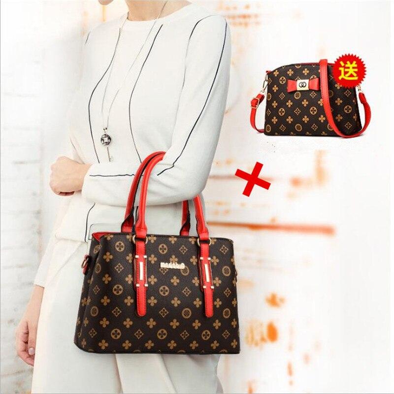 2 pieces / set 2018 new women's fashion shoulder bag handbags Christmas gift retro PU leather handbag 4