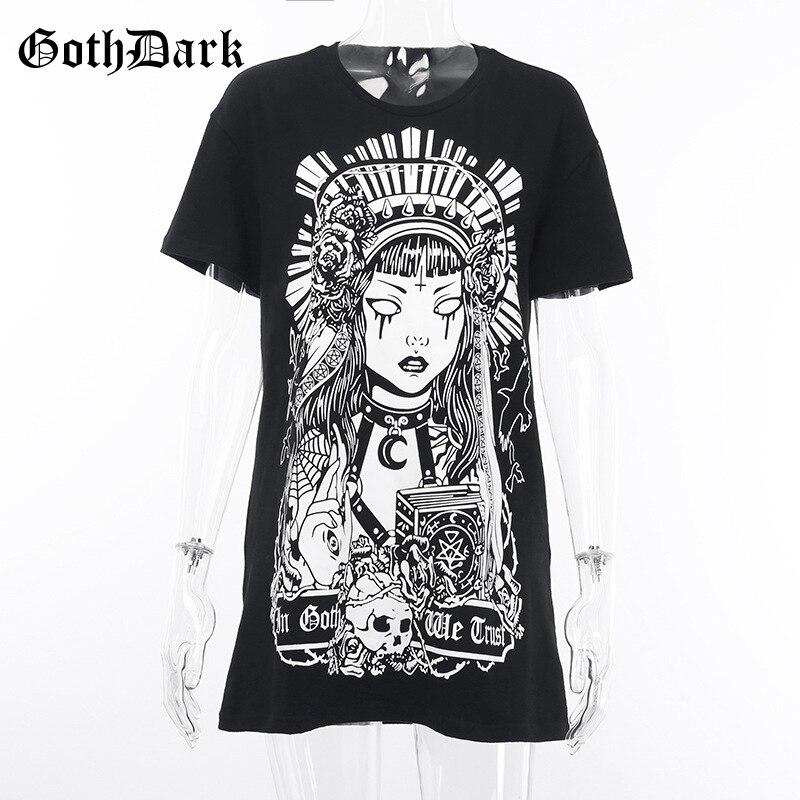 Goth Dark Grunge Black Print T shirts Gothic Loose Punk Harajuku Streetwear Summer 2019 T shirt Female Fashion Aesthetic T shirt in T Shirts from Women 39 s Clothing