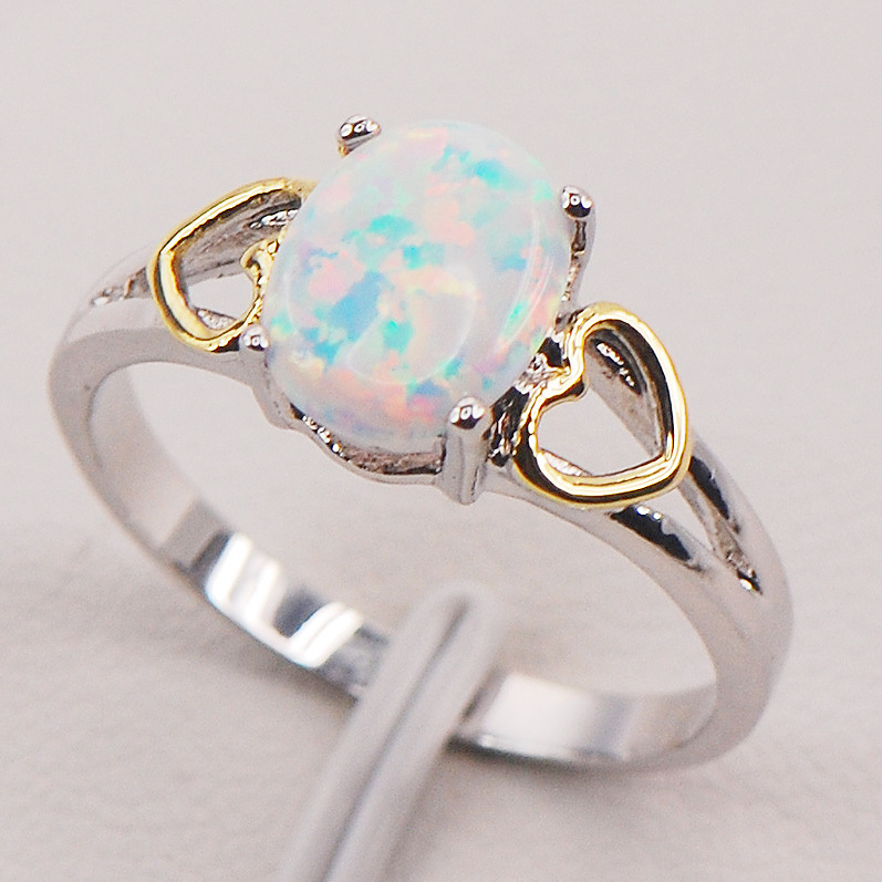 White Fire Opal Australia 925 Sterling Silver Silver Woman Ring Size 6 7 8 9 10 11 F580