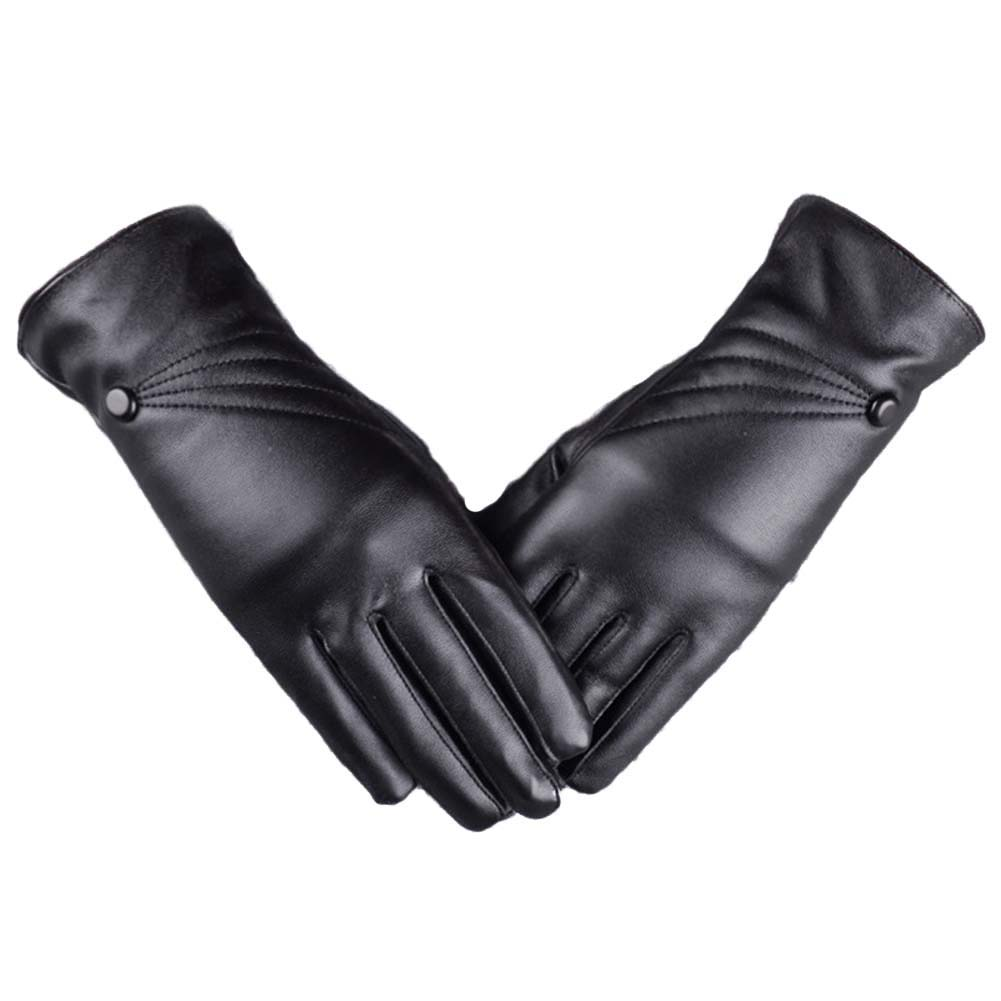 Men Leather Autumn Winter PU Plus Velvet Thickening Korean Fashion Driving Gloves Black Red