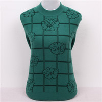 High Grade Printed Plaid 100 Goat Cashmere Women S Thick Base Pullover Sweater Semi High Collar