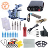 Complete Tattoo Kit One Machine Set Black Power Supply Needles Permanent Make Up Professional Tattoo Kit